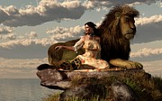 Lion Art Posters - Woman With Lion Poster by Daniel Eskridge