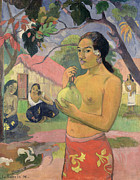Mango Painting Metal Prints - Woman with Mango Metal Print by Paul Gauguin