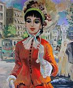 Vintage Woman Paintings - Woman with Parasol in Paris by Karon Melillo DeVega