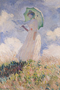 Landscape Posters Painting Framed Prints - Woman with Parasol turned to the Left Framed Print by Claude Monet