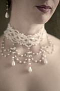 Woman With Pearl Choker Necklace Print by Lee Avison