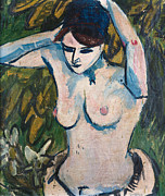 Half Body Framed Prints - Woman with Raised Arms Framed Print by Ernst Ludwig Kirchner