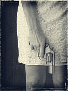 Lace Photo Prints - Woman with Revolver Print by Edward Fielding