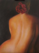 Nudes Painting Originals - Woman with Roses by Desiree  Rose