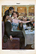 Prostitution Drawings - Woman With Suitors In Restaurant 1920s by The Advertising Archives