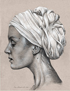 Cloth Drawings Posters - Woman with Turban Graphite Portrait Poster by Brent Schreiber