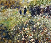 Villa Paintings - Woman with umbrella in garden by Pierre-Auguste Renoir