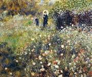Woman With Umbrella In Garden Print by Pierre-Auguste Renoir