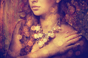 Feminine Pyrography Framed Prints - Womans Decollete Framed Print by Jelena Jovanovic