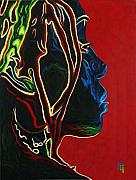 Original Oil Portrait Prints - Womans Essence  Print by Byron Fli Walker