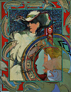 Turn Of The Century Mixed Media Posters - Womans Fish Tale Poster by Amy Burnett