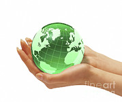 Hands Of Love Posters - Womans Hands Holding An Earth Globe Poster by Leonello Calvetti