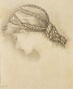 Womans Head, Detail From A Sketchbook Print by Sir Edward Coley Burne-Jones