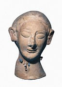 Woman Head Sculpture Prints - Womans Head. Punic Art. Terracotta Print by Everett