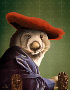 Anthropomorphism Posters - Wombat with a Red Hat Poster by Tara Sullivan