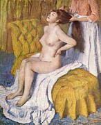 Divan Prints - Women Having Her Hair Combed Print by Edgar Degas