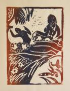 Lino Cut Print Framed Prints - Women I a La Gauguin Framed Print by Christiane Schulze