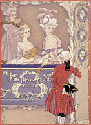 Courting Painting Prints - Women in a Theater Box Print by Georges Barbier