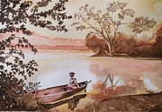 Lievre Prints - Women in Canoe 1875  Print by Lise PICHE