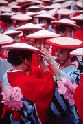 Straw Hats Photos - Women in Heian period kimonos preparing for a parade by David Hill