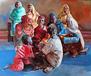 Mohamed Fadul Art - Women in the village by Mohamed Fadul