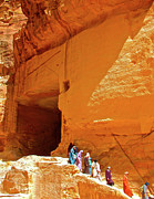 Jordan Trail Framed Prints - Women Leaving a Storage Cave near the Treasury in Petra-Jordan Framed Print by Ruth Hager