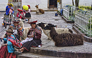 Off-white Framed Prints - Women of Peru with Llama Framed Print by Linda Phelps