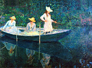 Boats In Water Paintings - Women on a Boat by Claude Monet