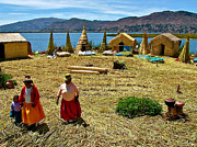 Friendly Digital Art - Women on a Floating Island in Lake Titicaca by Ruth Hager