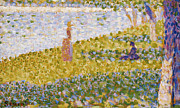 Water Scene Framed Prints - Women on the River Bank Framed Print by Georges Pierre Seurat