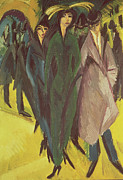 Hats Painting Framed Prints - Women on the Street Framed Print by Ernst Ludwig Kirchner