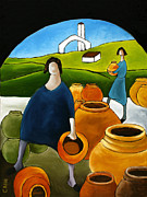 Terra Painting Originals - Women Selling Pots by William Cain