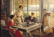 Porch Prints - Women Taking Tea Print by Albert Lynch