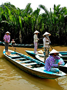 Southernmost Digital Art Prints - Women Waiting for Passengers on Mekong River Canal-Vietnam Print by Ruth Hager