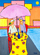 Table Cloth Paintings - Women Who Wine by Marlene MALKA Harris