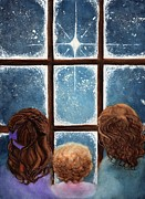 Christmas Eve Painting Metal Prints - Wonder of the Night Metal Print by Janine Riley