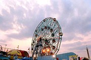 Twilight Framed Prints Framed Prints - Wonder Wheel at Twilight Framed Print by Liza Dey