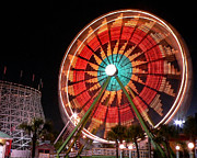 Ferris Wheel Night Photography Framed Prints - Wonder Wheel - Slow Shutter Framed Print by Al Powell Photography USA