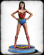 Frederico Borges Prints - Wonder Woman Retro Print by Frederico Borges