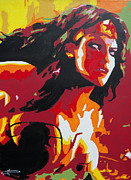 Original Framed Prints Painting Originals - Wonder Woman - Sister Inspired by Kelly Hartman