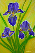 Original Paining Paintings - Wonderful Iris Flowers 3 by Oksana Semenchenko
