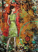 Folk Art Mixed Media - Wonderful Life- Mixed Media abstract by Janelle Nichol