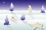 Winter Prints Digital Art Prints - Wonderland Play Print by Julia Bowman