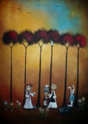 Mad Hatter Paintings - Wonderland Tea Party by Charlene Zatloukal
