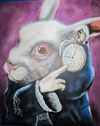 Alice In Wonderland Paintings - Wonderous White Rabbit by John Sodja