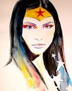 Nerd Painting Framed Prints - WonderWoman 2 Framed Print by Lauren Anne