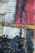 Patched Posters - Wood and Metal Abstract Poster by Jill Battaglia
