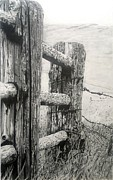 Weatherworn Prints - Wood and Wire Print by Jackie Mestrom