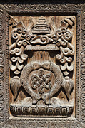 Religious Art Photos - Wood carving at Bhaktapur in Nepal by Robert Preston