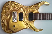 Fantasy Sculpture Originals - wood carving - Gold Dragons carved electric guitar - entalhe madeira woodcraft woodwork escultura by Ton Dias